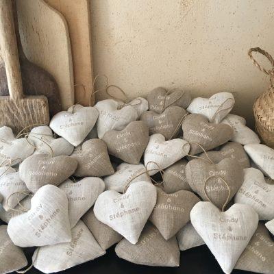 Coeurs Mariage Lavande Lin brodé naturel et écru