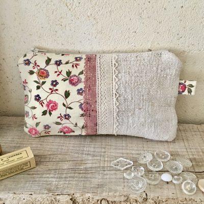 Trousse Tissu Ancien Fleuri Rose/Chanvre