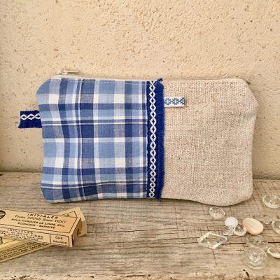 Trousse Tissu Ancien Carreaux Bleus/Chanvre