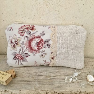 Trousse Tissu Ancien Fleur Rose/Chanvre