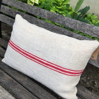 Coussin Chanvre Ancien Texturé Rayure rouge